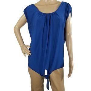 Roz & Ali Front Tie Blouse Size XL